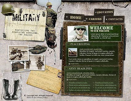 military flash site template