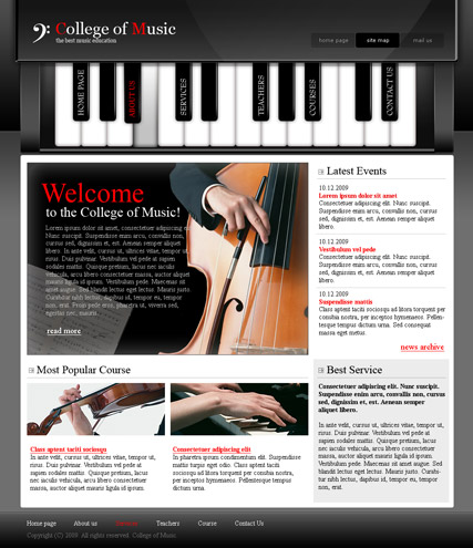 College Of Music Website Template - Music website templates
