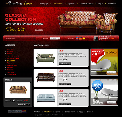 furniture store website template information
