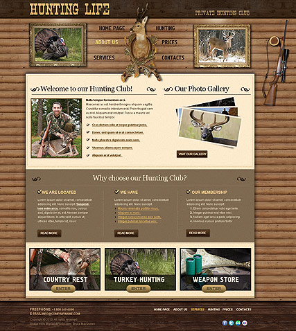 Hunting Club Website Template - Information website template