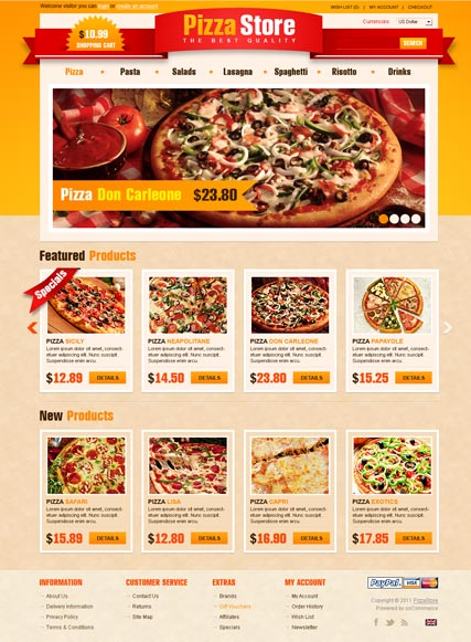 Store opencart template pizza store opencart template pronofoot35fo Images