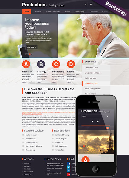 Industry Production HTML Template