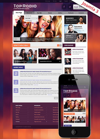 Top Radio v3 Joomla Template