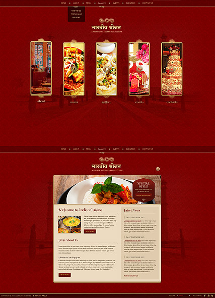 authentic and modern indian restaurant html5 website template