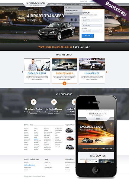exclusive car rent service website template bootstrap html template. Black Bedroom Furniture Sets. Home Design Ideas