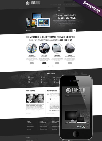 Personal Computer Repair Service Website Template - HTML Bootstrap ...