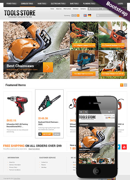 Responsive tool store opencart website template for Opencart template editor