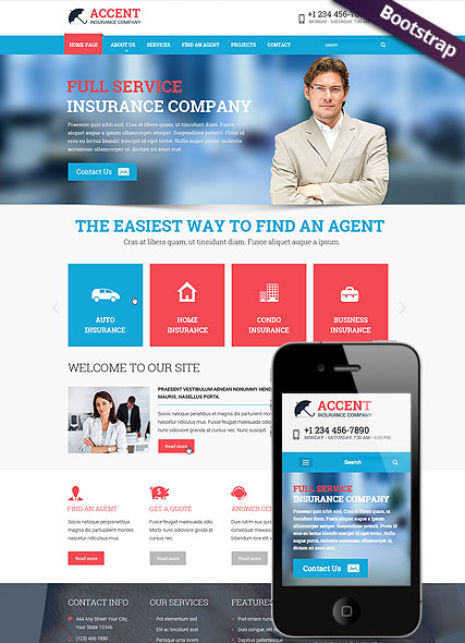 Accent - Insurance Company Responsive Website Template