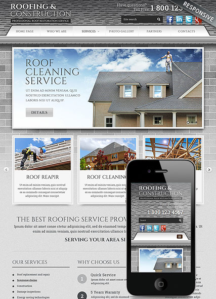 Roofing and Construction HTML Template