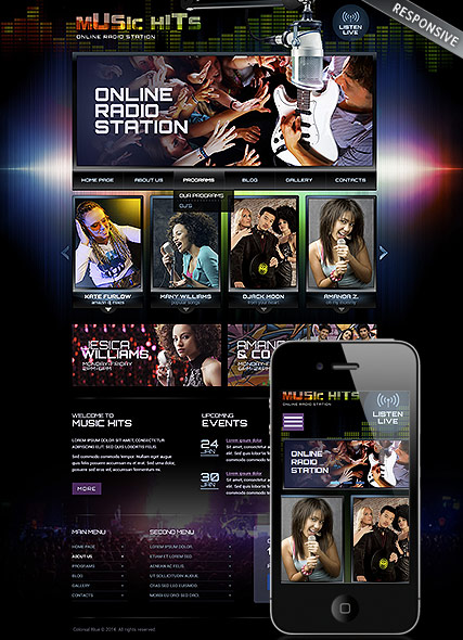 Online Radio Station Website Template Information