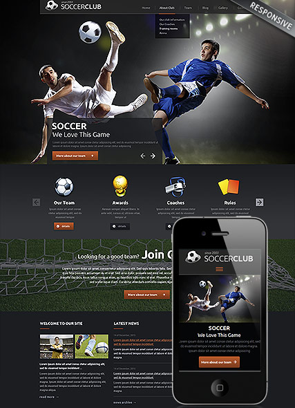 football club responsive wordpress template
